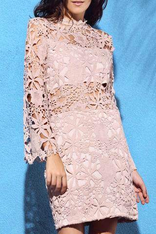 Beautiful Flare Sleeve Guipure Lace Pink Dress