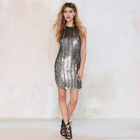 Mesh stitching Sequins Dress