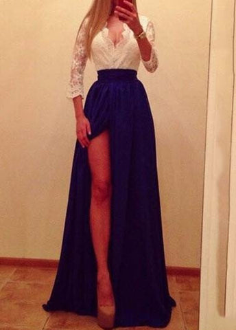 Elegant V Neck Lace Long Sleeve Prom Dress with Slit