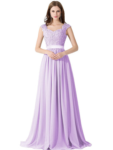 A-line Lace Chiffon Long Prom Evening Dresses