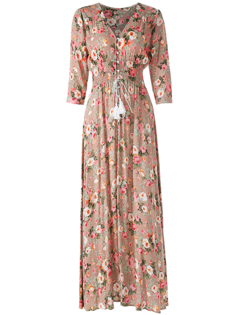 5138eaa0b71b5 Cute Front Button Maxi Floral V Neck Dress