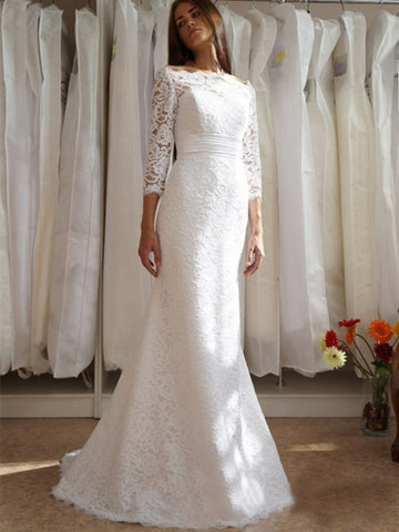 3/4 Length Sleeves Mermaid Wedding Dress