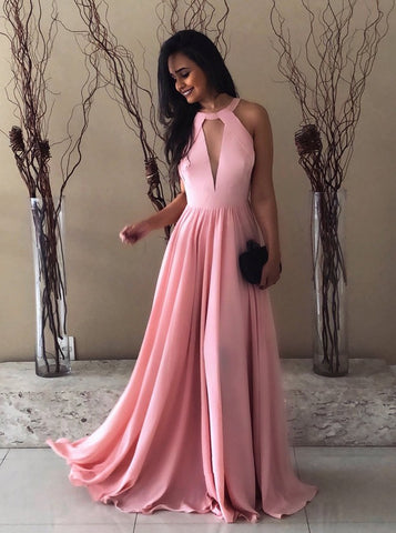 Backless Floor-Length A-Line Crew Pink Prom Dress with Keyhole