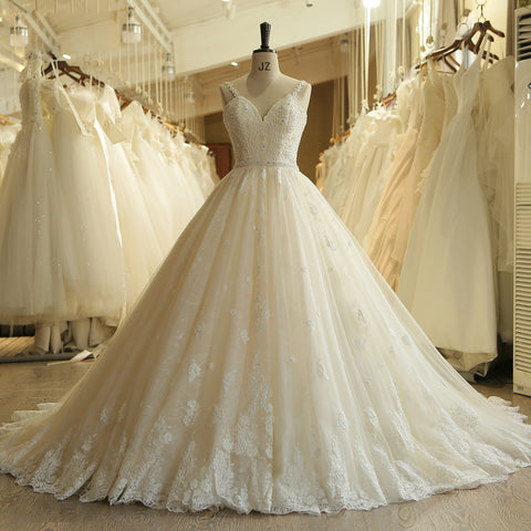 Lace Vintage Pearls Sweetheart Wedding Dress