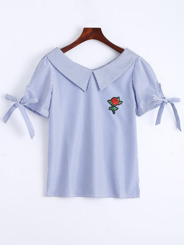 Blue Floral Patched Self Tie Striped Blouse