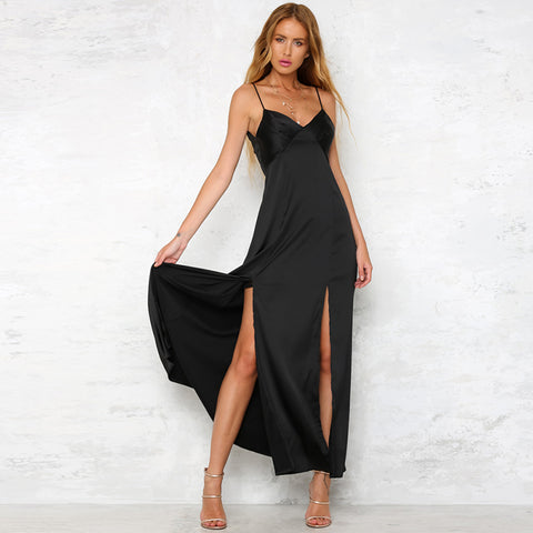 Black Straps High Slit Causal Dress