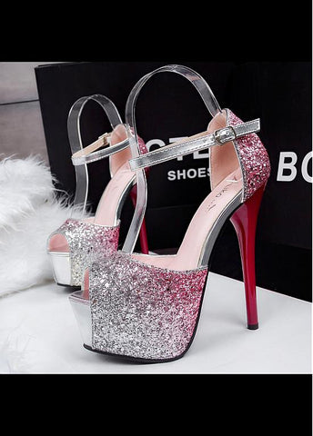 Shining Sequin Upper Peep Toe Stiletto Heels Party Shoes