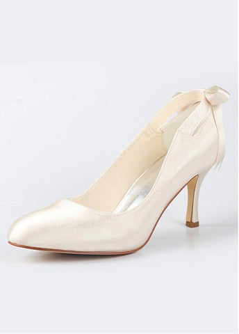 Chic Satin Upper Closed Toe Stiletto Heels Bridal Shoes