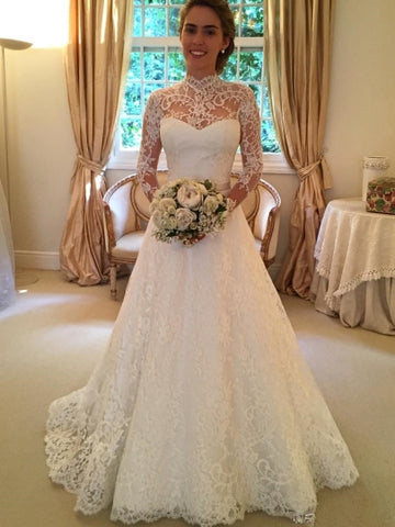 High Neck Long Sleeves Lace A-Line Court Train Wedding Dress