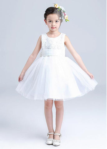 Charming Lace & Tulle Scoop Necklione Ball Gown Flower Girl Dresses With Bowknot