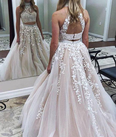 Two Pieces Lace Applique Long Prom Dress