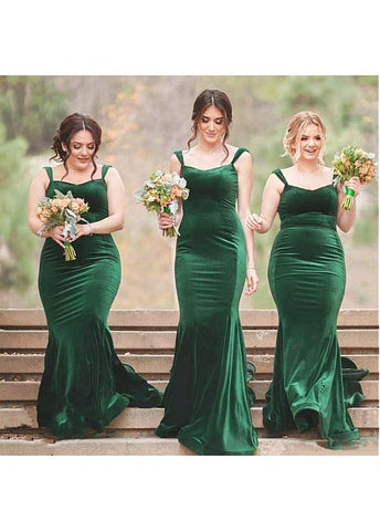 Charming Fleece V-neck Neckline Floor-length Mermaid Bridesmaid Dress