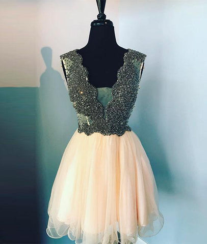 Lovely V Neck Champagne Tulle Beads Short Prom Homecoming Dress