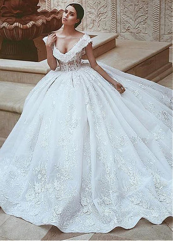 Luxury Organza V-neck Beading Ball Gown Wedding Dress