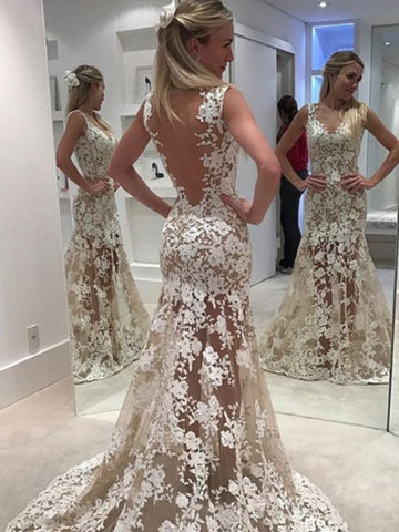 Sheer Mermaid Backless Ivory Lace Wedding Dress