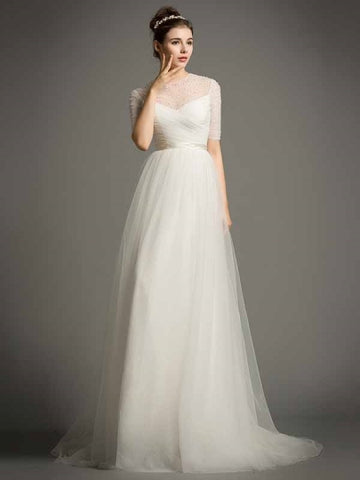 Tulle Short Sleeves A-Line Pearls Beading Wedding Dress