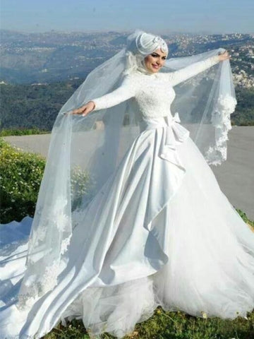 Satin Lace Tulle Arabic Wedding Dress with Hijab