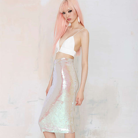 Sweet Retro Dazzle Pink Sequined Skirt