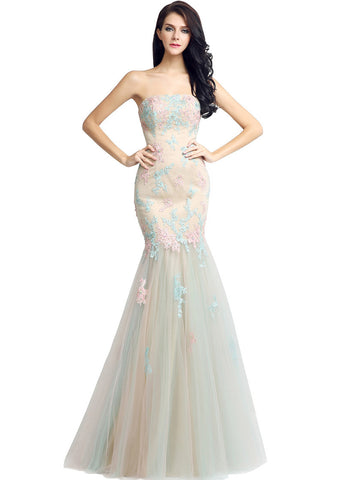 Glamorous Tulle Strapless Neckline Natural Waistline Mermaid Prom Dresses With Lace Appliques