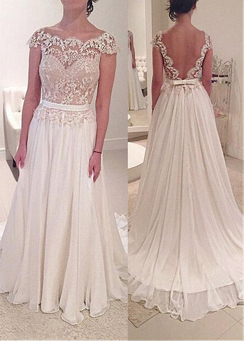 Tulle & Chiffon Scoop Long A-line Wedding Dress With Belt