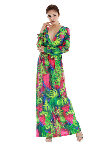 Long Sleeve Deep V-neck Printed Bohemian Maxi Dress