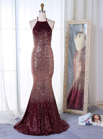 Ombre Mermaid Halter Backless Sequined Prom Dress