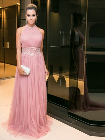 A-Line Halter Beading Pleats Sweep Train Evening Dress