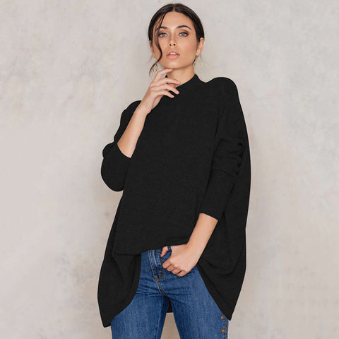 Black High Collar Loose Comfortable Sweater