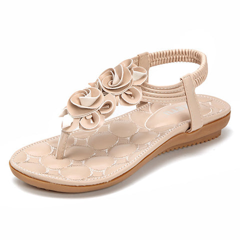 Black Clip Toe Elastic Flat Sandals For Women