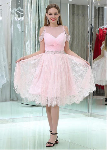 Tulle & Lace Jewel Neckline Knee-length A-line Homecoming Dresses With Beadings
