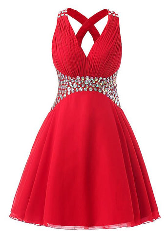 Red Fashionable Chiffon V-Neck A-Line Short Homecoming Dresses With Rhinestones