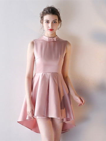 Pink Backless Bowknot Asymmetry Homecoming Dress