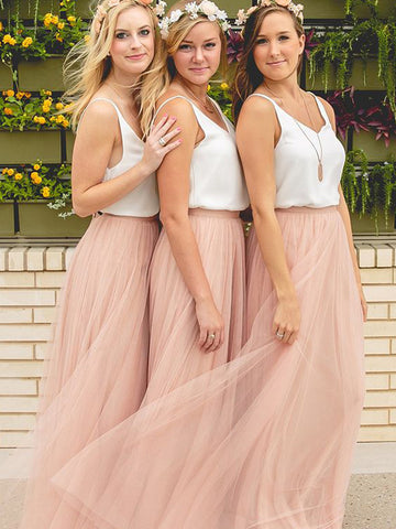 Princess V-neck Sleeveless Pink Tulle Bridesmaid Dresses