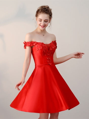 Red  Appliques Off-the-Shoulder Mini Homecoming Dress