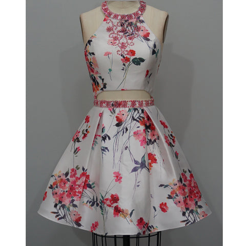 Beaded Floral Print Homecoming Dress