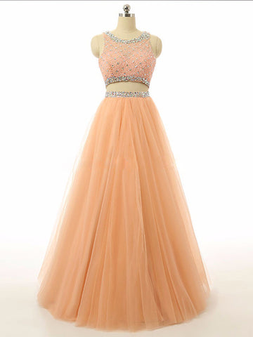Coral Two Piece Scoop Prom Dress