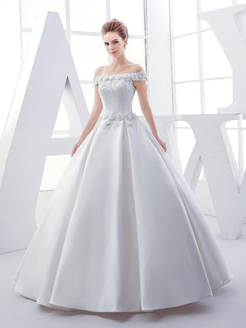 Sequins Matte Satin Ball Gown Wedding Dress
