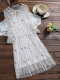 White Long Sleeve Floral Tulle Dress With Tank Top
