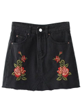 Black Cutoffs Rose Embroidered Denim Skirt