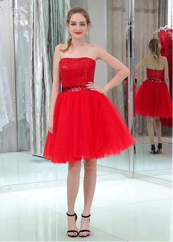 Amazing Sequin Lace & Tulle Strapless Neckline Short Length A-line Cocktail Dresses