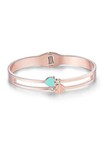 Enamel Heart and Zircon Titanium Steel Bangle