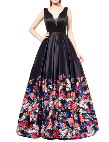 Black V Neck Print Prom Dress