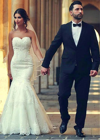 Beading Sweetheart Long Mermaid Wedding Dress