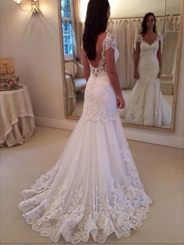 Cap Sleeves Appliques Open Back Sweep Train Mermaid Wedding Dress