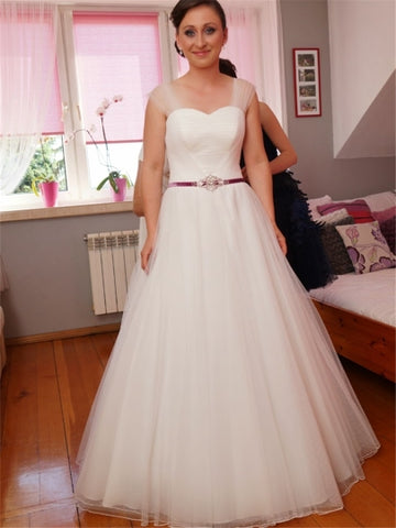 Tulle Straps Pleats Beaded Sashes Wedding Dress