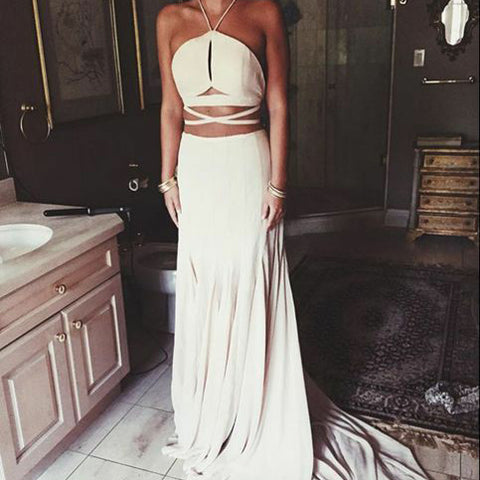 V-Neck Sweep Train Keyhole Ivory Elastic Satin Prom Dress