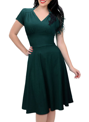 Women's Vintage Cap Sleeve 1950'S V Neck Rockabilly Skaters Swing Dress