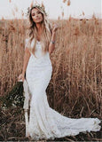 Lace Sheer Jewel Full-length Mermaid Wedding Dress