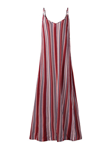 New Arrival Stripe Spaghetti Strap Backless Beach Maxi Dress