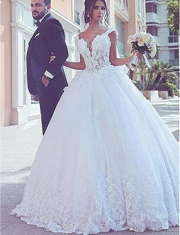 Tulle V-Neck Lace Appliques Ball Gown Beaded Wedding Dresses
